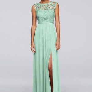 Mint Long Bridesmaid Dress with Lace Bodice 💐
